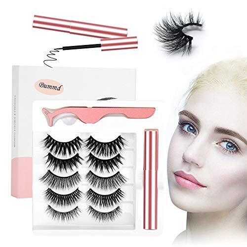 Magnetic Eyelashes and Magnetic Eyeliner Kit, 5 Pairs Natural Look Reusable 3D False Eyelashes with Magnetic Eyeliner, No Glue Needed