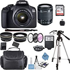 "Canon EOS 2000D DSLR Camera - International Version - 24.1MP APS-C CMOS Sensor - DIGIC 4+ Image Processor - 3.0"" 920k-Dot LCD Monitor - Full HD 1080/30p Video Recording - 9-Point AF with Center Cross-Type Point - ISO 100-6400, Up to 3 fps Shooting - ..."