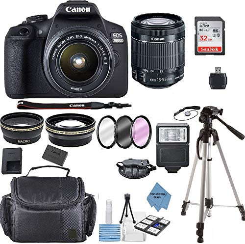 Cheap Canon EOS 2000D Rebel T7 Kit with EF-S 18-55mm f/3.5-5.6 III Lens + Accessory Bundle +TopKnotc...