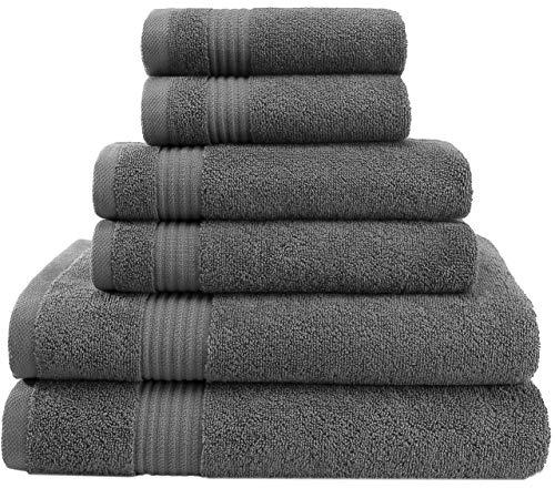 Hotel & Spa Quality Super Absorbent & Soft, Cotton, 6 Piece Turkish Towel Set for Kitchen & Decorative Bathroom Sets Includes 2 Bath Towels 2 Hand Towels 2 Washcloths, Charcoal Grey
