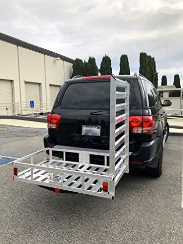 "MAXXHAUL 80779 Aluminum Hitch Mount Cargo Carrier with 47"" Long Ramp, 1 Pack"