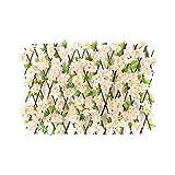 Pannelli da parete artificiali con foglie di fiori, decorazione per siepi artificiali, recinzione in legno retrattile, per la privacy, per balconi, cortili, scale, pareti