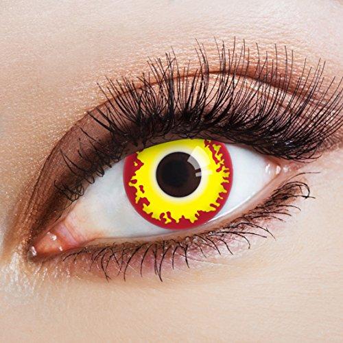 aricona Kontaktlinsen - gelb-rote Kontaktlinsen Halloween - bunte Kontaktlinsen farbig ohne Stärke