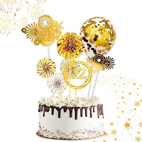 PP-Products Tortendeko Happy Birthday Topper Geburstag Party Deko Kuchen Deko Schwarz