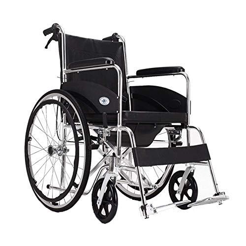 SISHUINIANHUA Rollstuhl mit Toilettensitz, zusammenklappbarem Rahmen, Rollstuhl mit Eigenantrieb, Mobilitätshilfe für ältere Menschen, Behinderte und Behinderte, tragbarer Rollstuhl