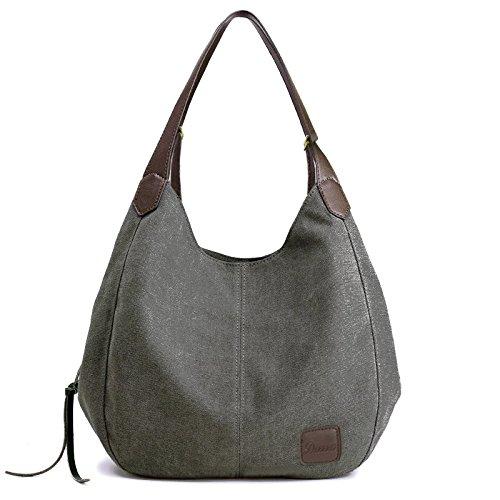 d6239541da2e Women s Canvas Bag - Multi pocket bag Shoulder bags Hobo Tote Bags Cotton  Totes Purses for