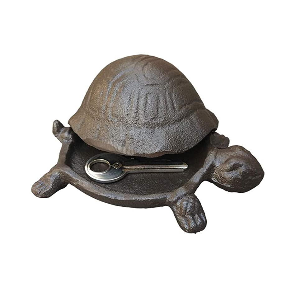 Cast Iron Turtle Hide a Key - Rustic Tortoise Key Hider - Garden Accessory & Decoration (Turtle)