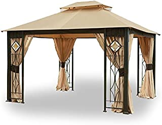 Garden Winds LCM1145B Art Glass Gazebo Standard 350 Replacement Canopy, Beige