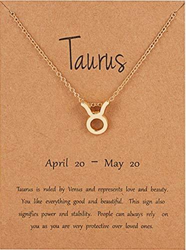 NUANYANG Mode und Elegante 12 Sternbild Halskette Anhänger Charme weiblicher Schmuck Goldkette Halskette Schmuck J