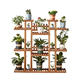 Homchwell 9-Tier Wooden Plant Stand for Indoor & Outdoor,Tiered Plant Ladder, 47.2-inch Height,Stylish Plant Shelf for Living Room, Patio, Garden, Rooms, & Balcony,Carbonized,with 3 Gardening Tools