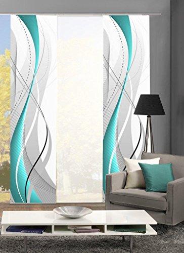 Home Fashion 88150 Flächenvorhänge 3er-Set WuXi, in Beere, grau und Petrol, Flächenvorhang Carlisle + Uni-Flächenvorhang ROM (Petrol)