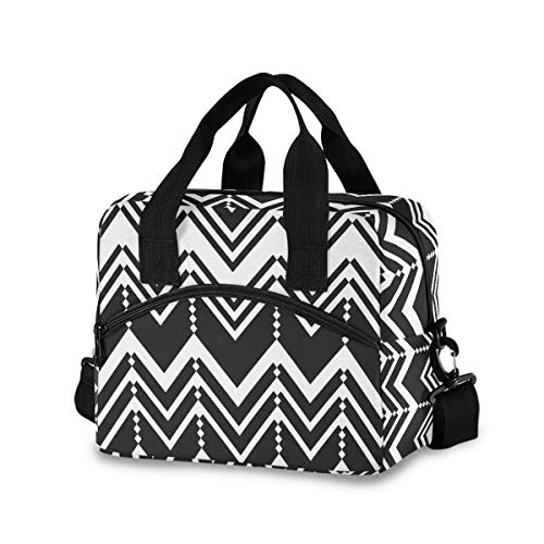 Chic Houses Chevron Zig Zag Bolsa de almuerzo enfriadora bolsa simple duradera aislada lonchera lonchera bolsa de almuerzo bolsa para hombre mujer Picnic 2030037