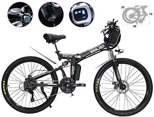 RDJM Bici electrica 26 pulgadas de neumático de la bici plegable eléctrica ciclomotor habló Lamer Ebike 21 Velocidad 48V 500W Electric Mountain Bicycles 3 Modo de altavoz Vespa faros LED integrado for