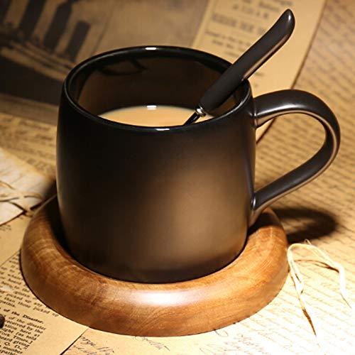 Taza De Café, Taza Helada De Estilo Europeo, Taza De Café Negra con Tapa, con Base, Copa De Agua De Cerámica De Gran Capacidad Simple Mate Creativa (con Base)
