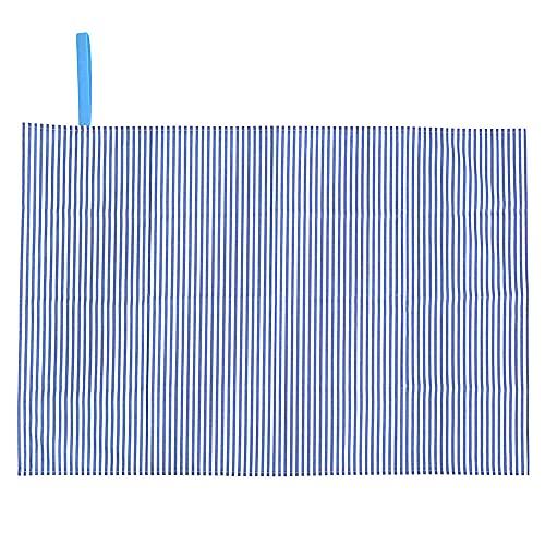レジャーシート 一人用 遠足 敷物 ベーシックストライプ(綿100%)・青 N4807400