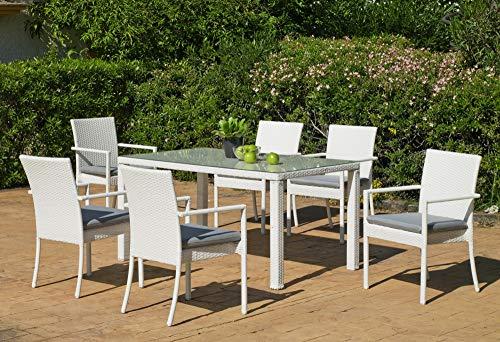 Atypik Home Salon De Jardin Table A Manger Astor 150 en Aluminium Resine tressee Blanche Coussins Couleur Gris Mariland