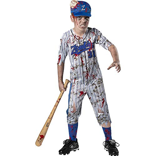 Holiday Times Unlimited Inc Homerun Horror Halloween Costume for boys, Zombie, Large, Shirt, Pants, Socks and Hat