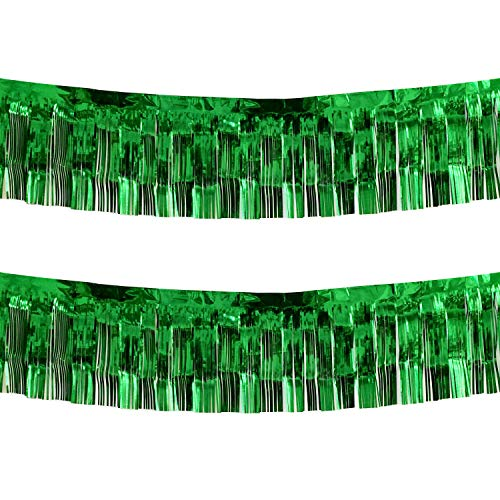10 Feet Long Green Parade Floats Skirting Decorations- Pack of 2 | Metallic Foil Fringe Garland | Ideal for Parade Floats, Bridal Shower, Bachelorette, Wedding, Birthday | Wall Hanging Tassle Banner