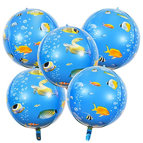 22 Inch Ocean Theme Foil Balloons Sea Creatures 4D Round Mylar Helium Balloons Printed Tropical Fish for Kid's Birthday Children's Birthday Ocean Sea Party Decoration Supplies