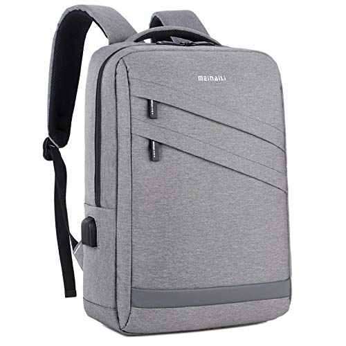 Laptop Bag Backpack Waterproof Durable Laptop Backpack Anti Theft Bag Men Usb Charging For Travel Business School Bags Women Casual 15Inch Gray Free Fast Delivery