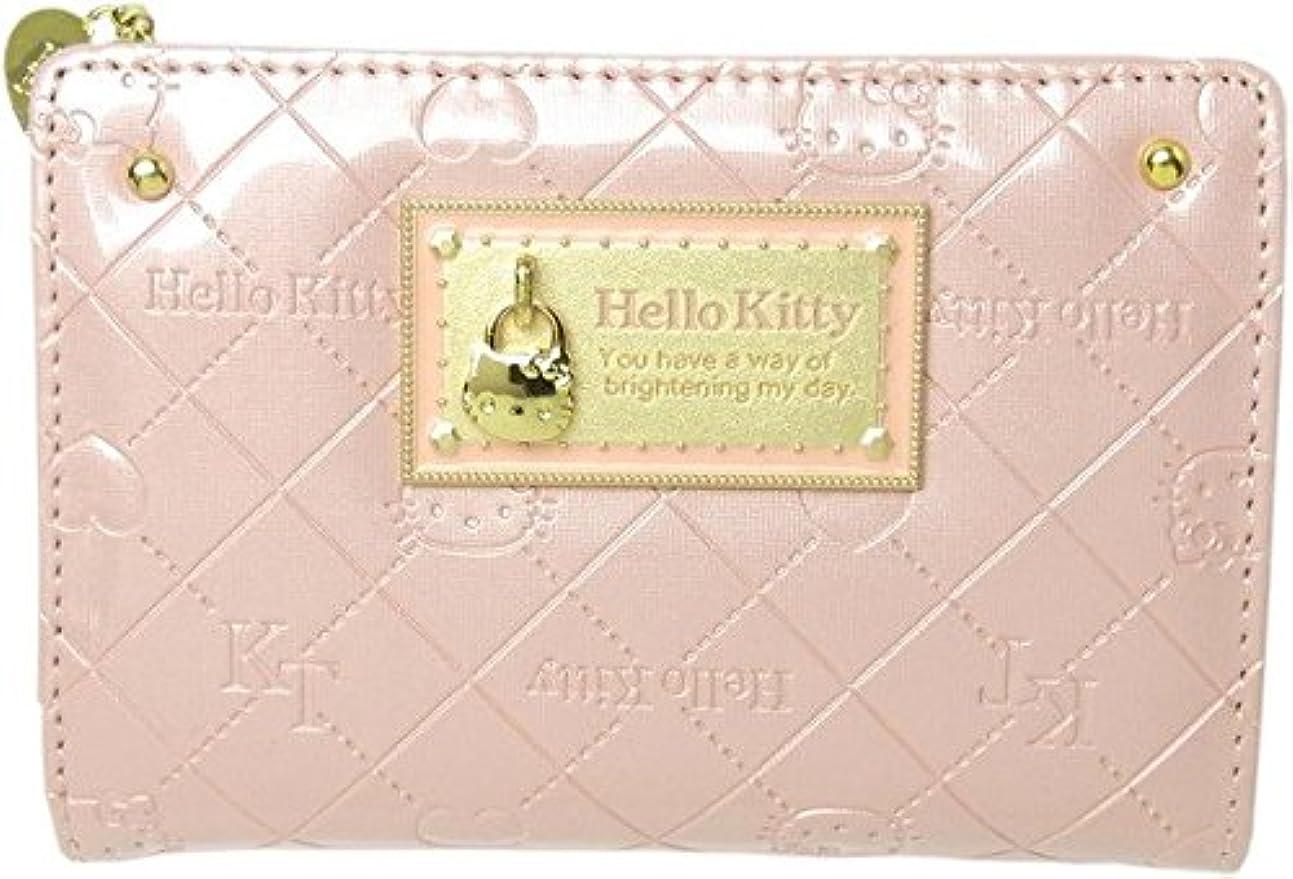 ペース何でもスパイラル[ハローキティ]HELLO KITTY 財布 合皮ラウンドファスナーエナメル調モノグラム柄折財布 HK26-1 レディース ピンク