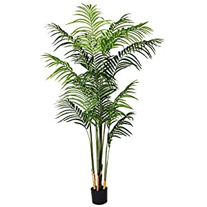 Artiflr 5.5 Feet Artificial Areca Palm Plant Fake Palm Tree with 15 Detachable Trunks Faux Tropical Plant Tree for Indoor Outdoor Modern Decoration in Pot for Home Office Perfect Housewarming