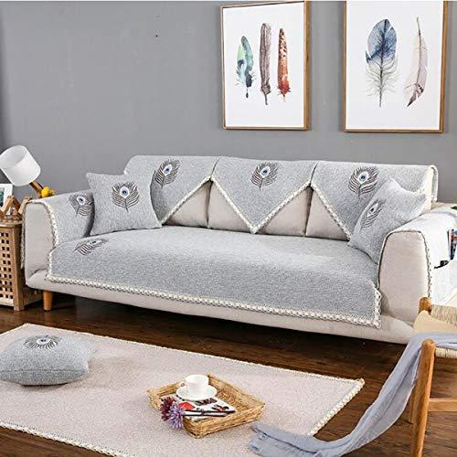 HUANZI SOFA Funda para Sofá Chaise Longue L Tapetes de sofá Brazo Derecho, Gris Funda para sofá Bordada de Lino, Gray, 90 * 180cm