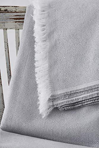 Textil-home Bettüberwurf, Mehrzweck/Plaid 180 x 285cm - Eignet Sich als Sofaüberwurf und auch als Tagesdecke. Perlenfarbe