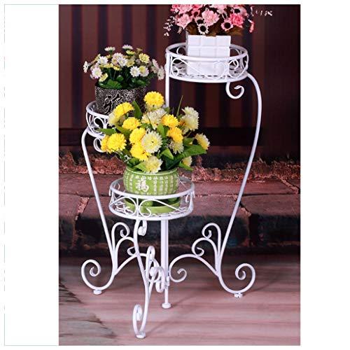 SMC Étagère de jardin en fer forgé à 4 pieds avec support pour fleurs Style ancien classique Blanc