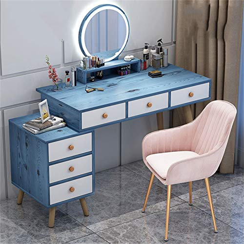 Vanity Set with Lighted Mirror and Cushioned Stool for Women Girls, Makeup Table with 120 LED Bulbs Vanity Bench and 6 Large Storage Drawers, Dressing Table for Bedroom(White and Blue)