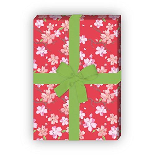 Kartenkaufrausch Frühlings Geschenkpapier Set mit japanischer Kirschblüte als edle Geschenk Verpackung, Designpapier, scrapbooking, 4 Bögen, 32 x 48cm Dekorpapier, Musterpapier zum Einpacken