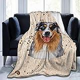 Arrisum Cute Merle Aussie Australian Shepherd Dog Flannel Fleece Blanket, Super Soft Micro-Velvet Blanket, Super Soft Hypoallergenic Plush Bed Sofa Living Room60 X50