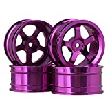 BQLZR Purple Aluminum Alloy Wheel Rims with 5 Spoke for RC 1:10 On Road Car Pack of 4