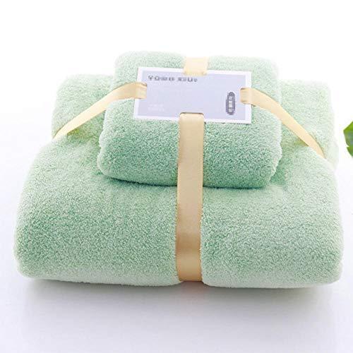 B/H Toallas de baño duraderas de Primera Calidad,Espesar Juego de Toallas de baño, Toalla de algodón súper Suave Absorbente Verde