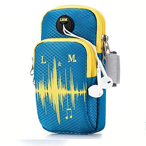 Bandas de brazo para correr, para deportes al aire libre, para hombres y mujeres, bolsa para brazos, impermeable, para teléfono móvil, con bolsa de muñeca para teléfono móvil, auriculares, color X3007 Blue, tamaño Medium