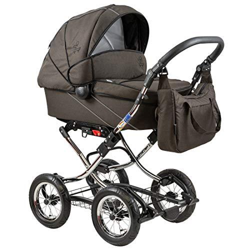 Standardkinderwagen Classic Single, Babywanne mit Wickeltasche und viel Zubehör, Dessin: Brown