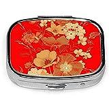 Garden Flowers Style Nature Custom Fashion Silver Square Pill Box Medicine Tablet Holder Wallet Organizer Case para Bolsillo o Monedero
