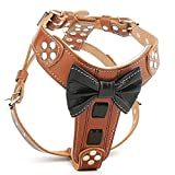 Bestia Bowtie Leather French Bulldog Harness. 100% Leather. Padded Chest Plate. Hand Made in Europe!
