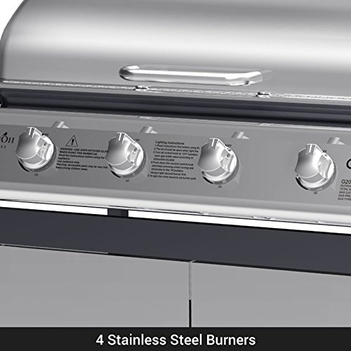 BillyOh Matrix Gas BBQ 4 Burner + 1 Side Burner, Silver and Black Hooded Gas Barbecue