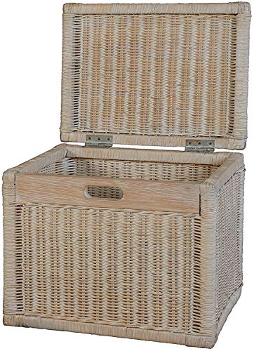 Korb mit Deckel Rattan geflochten Farbe Vintage Weiß, Regalkorb, Aufbewahrungsbox - 2