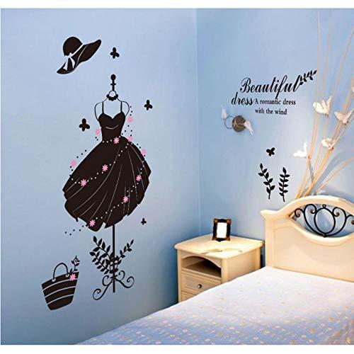 Xxscz zwart mooie jurk hoed tas hoge hakken schoenen winkel raam glas sticker slaapkamer kast trap muur Decor muurschildering poster