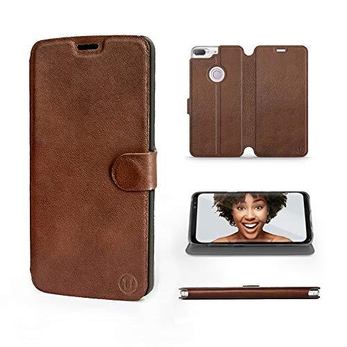 Mobiwear | Echt Lederhülle | Kompatibel mit HTC Desire 12 Plus, Made in EU handyhülle, Slim Leather Case, Premium Flip Schutzhülle, Transparent TPU Silicon, Book Style, Tasche - Braunes Leder