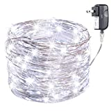 Minetom Fairy Lights Plug in, 33Ft 100 LED Waterproof Firefly Lights on Silver Wire - UL Adaptor Included, Starry String Lights for Wedding Indoor Outdoor Christmas Patio Garden Decoration, White