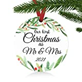 ZUNON First Christmas Ornaments 2021 Our First Christmas as Mr & Mrs Couple Married Wedding Decoration 3' Ornament (Green Mr & Mrs)