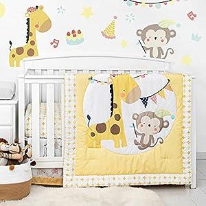 crib bedding and baby bedding tillyou luxury 4 pieces giraffe crib bedding set (embroidered crib comforter, crib sheets, crib skirt) - microfiber printed nursery bedding set for girls boys - giraffe