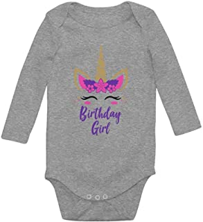 Tstars Birthday Girl Unicorn Outfit Gifts for Baby Girls' Baby Long Sleeve Bodysuit