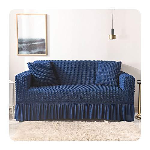 ZaHome Funda elástica de sofá para sala de estar, color sólido, funda para sofá de entramado, elegante falda, para sala de estar, sillón, sofá, 9 – 1 asiento, 90 – 140 cm