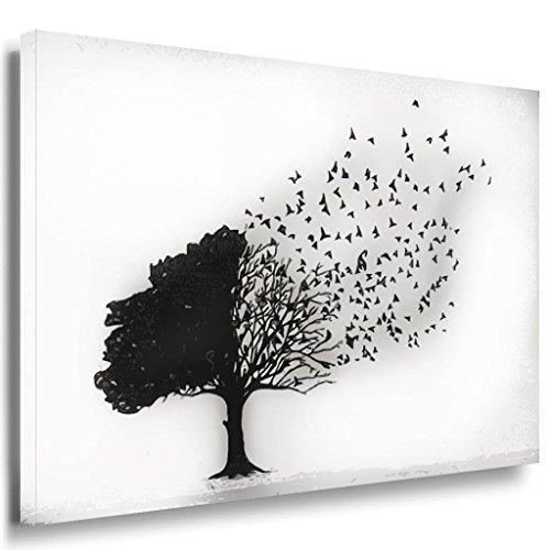 Baum Schwarz Blätter Leinwandbild / LaraArt Bilder / SchwarzWeiß + Kunstdruck sw07 Wandbild 40 x 30 cm