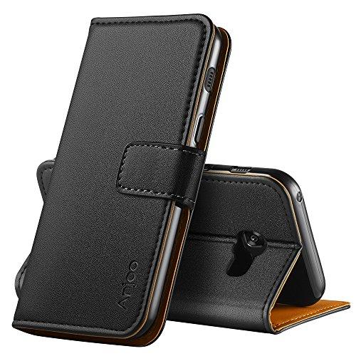 Anjoo Hülle Kompatibel für Samsung Galaxy A3 2017, Handyhülle Tasche Premium Leder Flip Wallet Hülle Kompatibel für Galaxy A3 2017 [Standfunktion/Kartenfächern/Magnetic Closure Snap], Schwarz