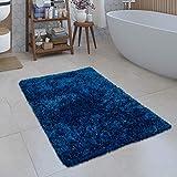 Alfombrilla De Baño Moderna Alfombrilla Shaggy Mullida Suave Monocolor En Azul, tamaño:40x55 cm